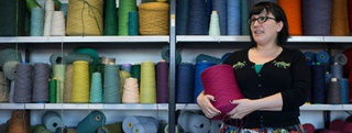 fashion student with cotton spools