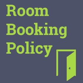 Door icon with titles room booking policy