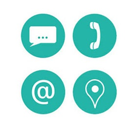 symbols for chat, phone, email, visit