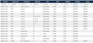 Module Timetable