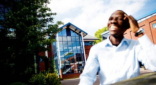 man smiling outside Telford